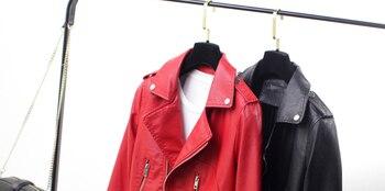 Chaqueta De Cuero Barata | Chaqueta De Cuero Corta Para Mujer, Chaqueta De Cuero Delgada Para Primavera Y Otoño, Chaqueta De Cuero De Motociclista Roja Negra Para Mujer, Abrigos Baratos