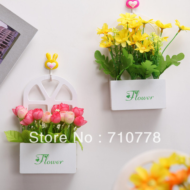 artificial flower set with vase table wall home decoration flower wood vase hanging basket
