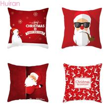 45x45 Square Red Cushion Cover Pillowcase Merry Christmas Decorations for Home Chair Sofa Car