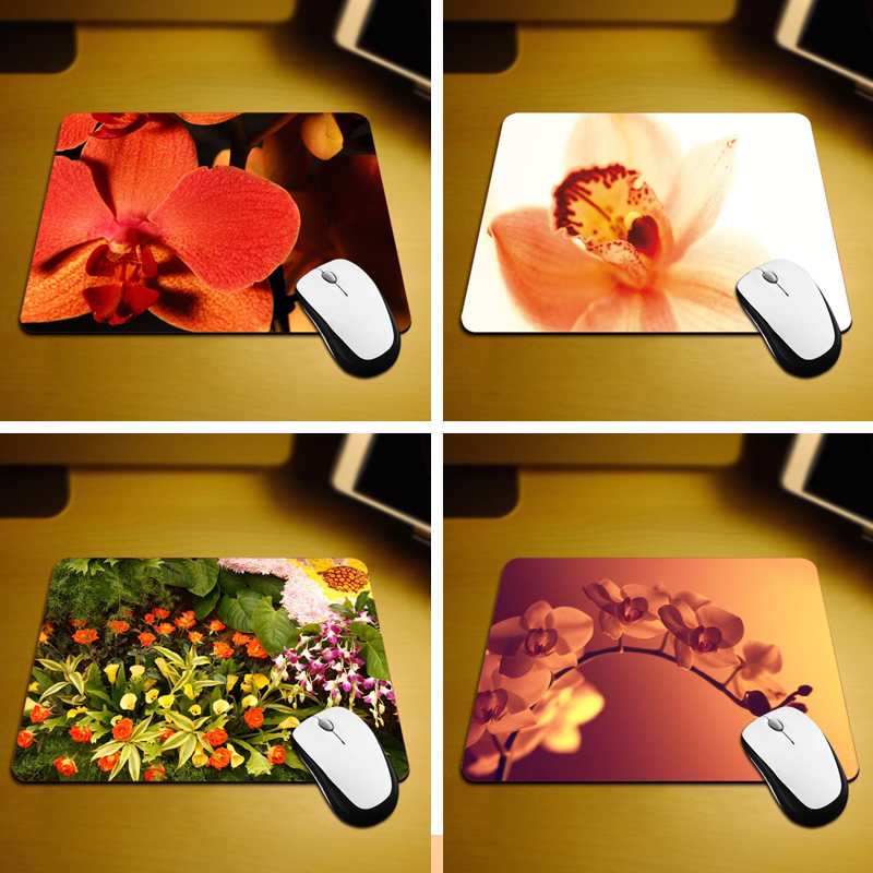 MaiYaCa Orange Orchids Mouse Mats Computer Laptop Notbook 18*22cm and 25*29cm