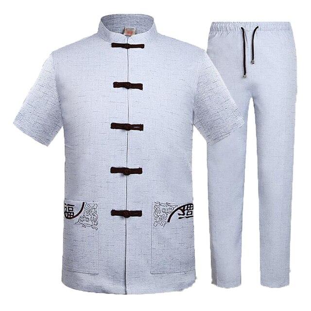 WAEOLSA Oriental Men Linen 2PCS Pant Suits Summer Man Beige Gris Tunic Shirt And Pant Set Male Embroidery Ensemble Tangzhuang