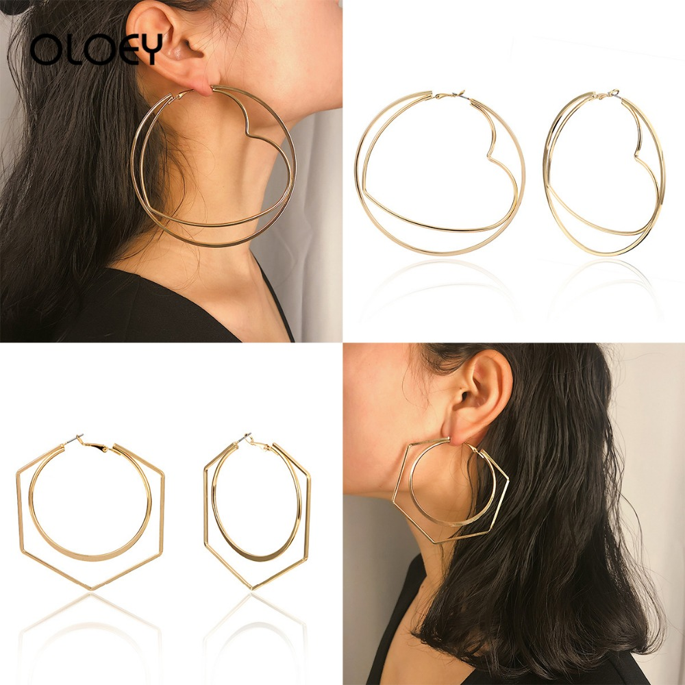 OLOEY Big Circle Earrings For Female Simple Gemetric Women 39 s Alloy Earring Jewelry Casual Exaggerated Round Heart shape Earrings in Hoop Earrings from Jewelry amp Accessories