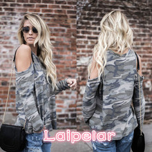 Camouflage T Shirt Women Long Sleeve Cold Shoulder Tops 2018 Autumn Loose Tees Sexy Ladies Round Neck Cut Out T-shirt Laipelar