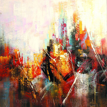Pure Hand Painted Modern Abstract Canvas Calligraphy Acrylic Picture Handmade Colorful City View Landscape Canvas Oil Painting