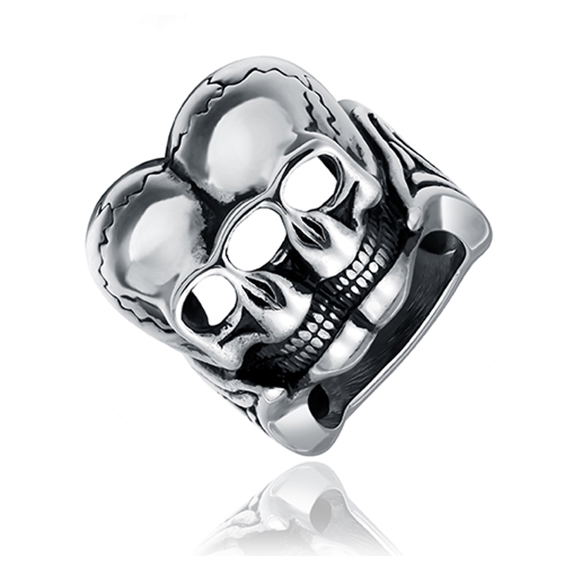 ZMZY High Quality Personality Women Gothic Carving Skull Rings For Man Stainless Steel Ring Biker Twin Skeleton Jewelry For Boy