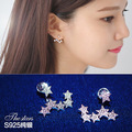 New Fashion 925 Sterling Silver Stars Earrings for Women Girls Gift Fashion Statement Jewelry 2016