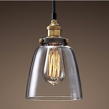 American Loft Style Edison Bulb Vintage Industrial Lighting Pendant Lights In Glass Shade 1 Light E27 Bulb Included