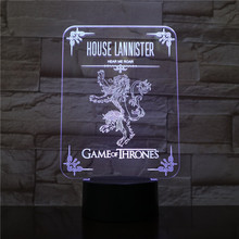 House Lannister Logo Desk lamp bedside Touch Sensor 7 Color Changing Child Kids Hear Me Roar Game of Thrones LED Night Light