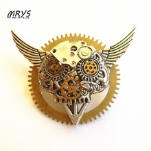 steampunk gothic punk wings skeleton The Deathly Hallows watch parts gears brooch pins men women jewelry christmas gift party