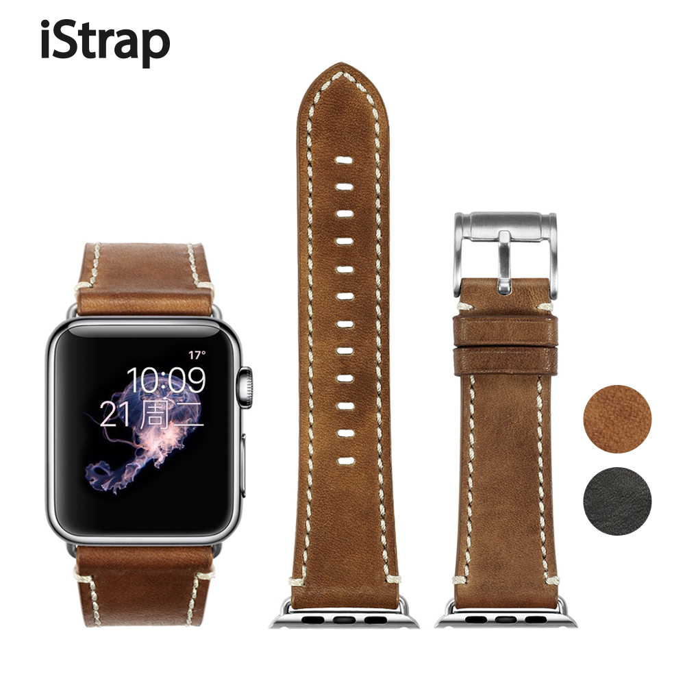 iStrap Durable 38mm 42mm Genuine Calf Leather Watch Strap For Iwatch Apple Watch Sport Edition Series 1 2 3 for Apple Watch Band istrap 22mm handmade genuine calf leather padded replacement watch band for men black 22