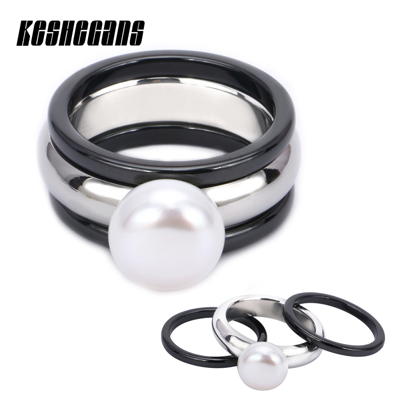 3pcs/Set 1 Fashion Elegant Big Simulated Pearl Ring With 2 Ceramic Rings Black Color For Women Girl Beautiful Jewelry For Gifts