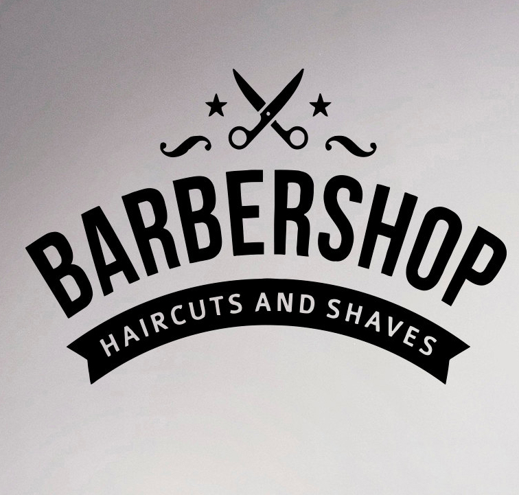 Barbershop emblem wall sticker logo hairdressing salon vinyl decal hairstyles home interior decor art murals window stickers in wall stickers from home