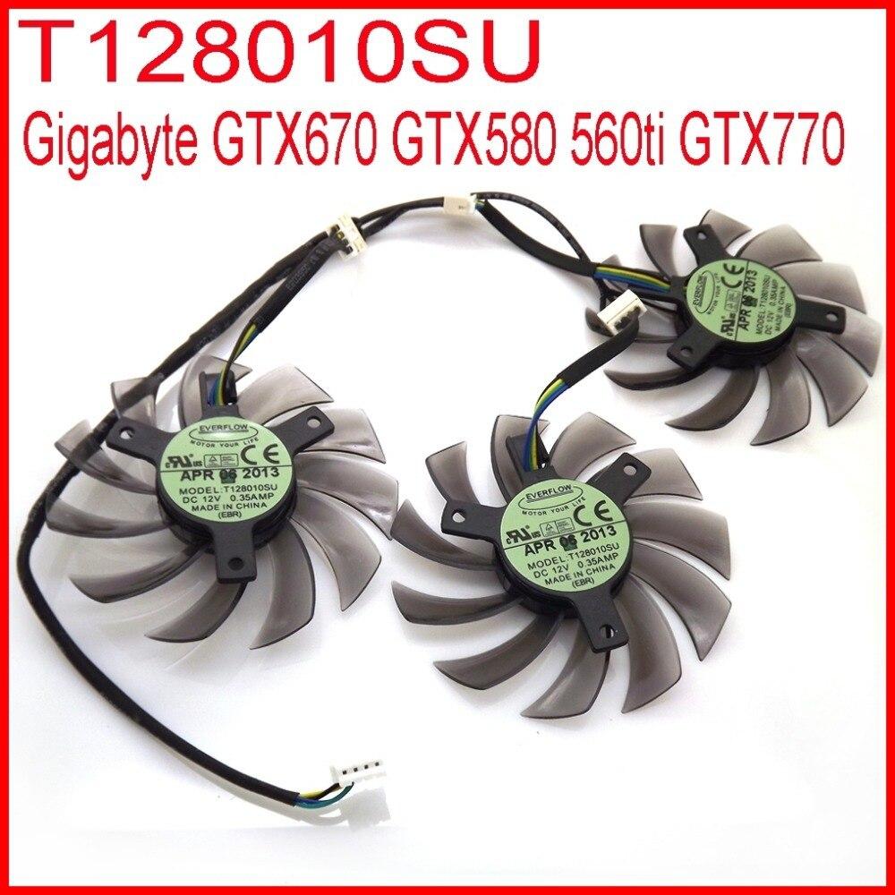 3pcs lot EVERFLOW T128010SU 75mm 4Pin 40mm VGA Video Card Fan For Gigabyte GTX670 GTX580 560ti