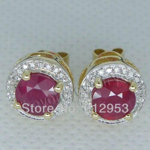 Винтажные Ювелирные изделия круглые 6 мм красный рубин в твердой 14 к желтое золото классические серьги ESR006