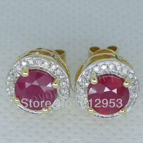 Vintage Jewelry Round 6mm Red Ruby In Solid 14Kt Yellow Gold Classic Earrings ESR006