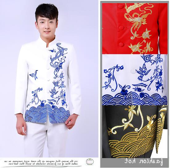 Fashion slim masculino embroidered latest coat pant designs mariage groom wedding suits for men blazer boys prom suits fashion