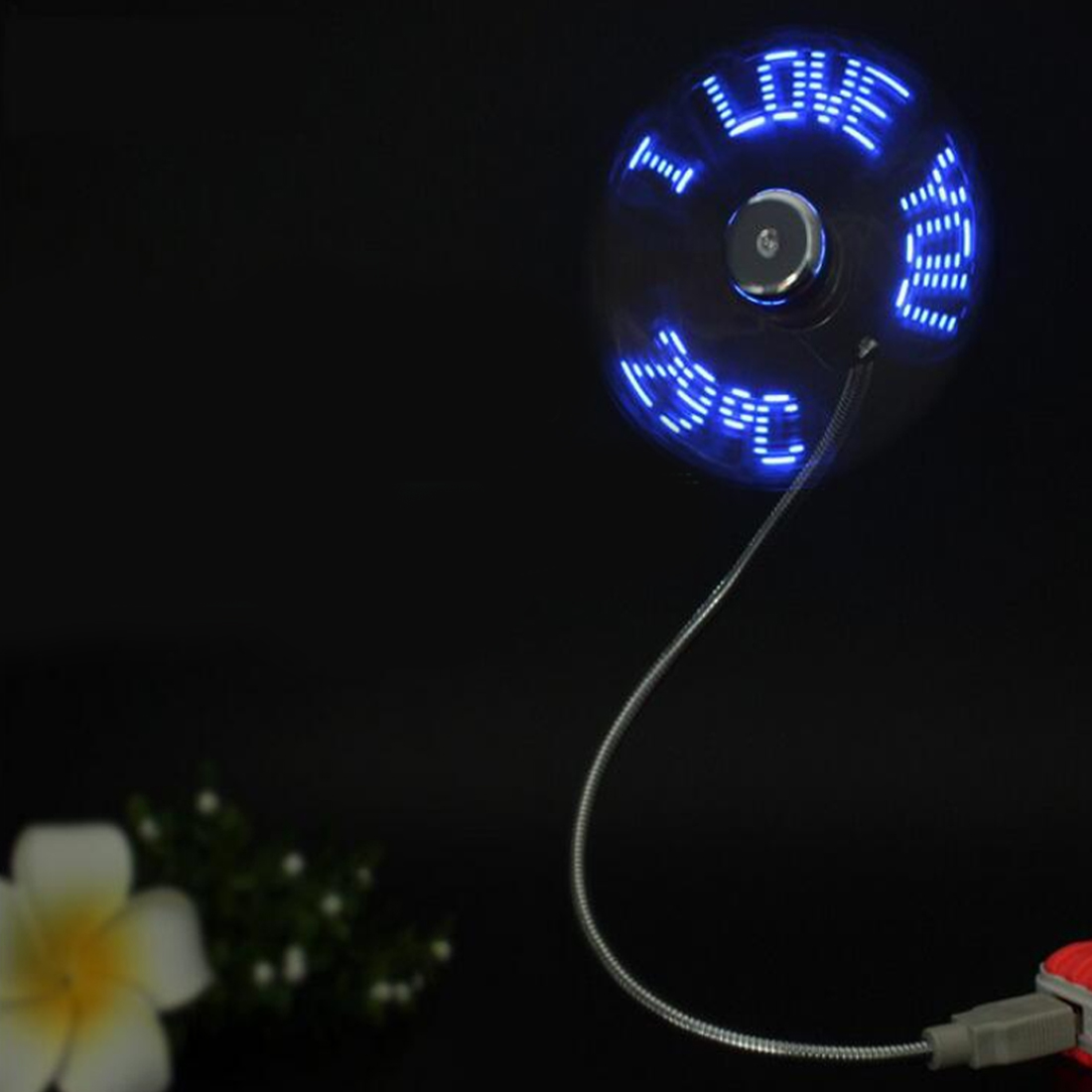 Etmakit Mini Usb Fan Gadgets Flexible Gooseneck Led Light Usb Cooling Flashing Temperature Display F lucog mini usb fan with led flashing light gooseneck cool time clock display usb flexible cooling fan for pc laptop notebook