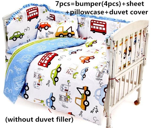 Promotion! 6/7PCS Cartoon Baby bedding set cartoon crib set 100% cotton baby bumper bedclothes ,120*60/120*70cm
