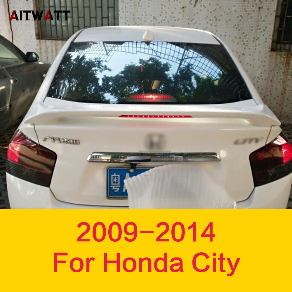 Rear Wing Spoiler With Led Light For Honda City 2009 2010 2011 2012 2013 2014 Spoiler ABS Plastic Unpainted Primer Car Stickers