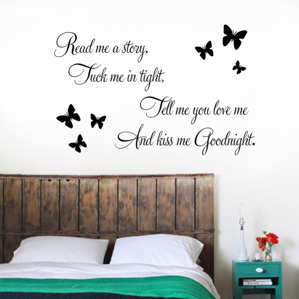 Bedroom wall art quotes - Aliexpress Com Buy Kiss Me Goodnight Butterflies Diy Art Vinyl Quote Wall Sticker Decal Mural Home Bedroom Decoration From Reliable Decorative