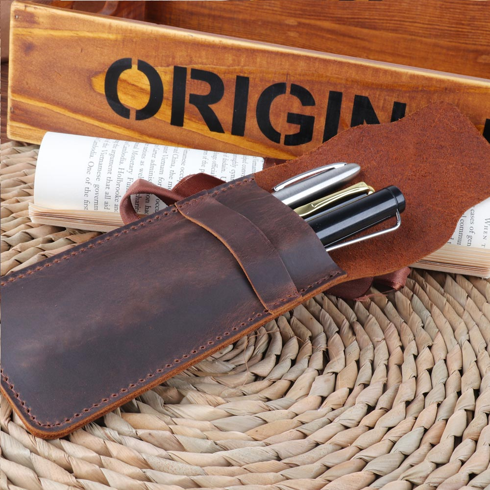 genuine leather Pen Pencil Case Holder Box Bag Storage Container for Fountain Pen Ballpoint Pen brown Accessories notebookgenuine leather Pen Pencil Case Holder Box Bag Storage Container for Fountain Pen Ballpoint Pen brown Accessories notebook