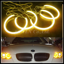 Yellow  CCFL angel eyes for E46 projector/E36//E39/E46 4D free shipping ! free shipping ccfl ring for mondeo 02 05 full circle 95mm