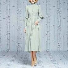 케이트 미들 롱 드레스 고품질의 봄 새로운 여성 패션 파티 섹시한 빈티지 우아한 세련된 라이트 그린 긴 소매 드레스