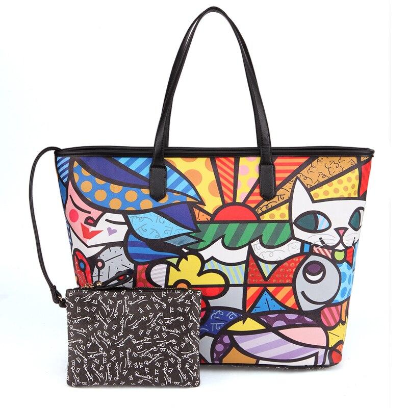 Romero Britto New Realer Brand Printed Leather Bags Vintage Handbags Womens Medium Tote Female Graffiti For Women On Aliexpress Alibaba