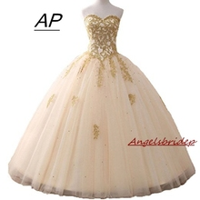 Angelsbridep Gold Appliques Ball Gown Quinceanera Dress 2020 Sparkle Crystal Tulle Floor length Sweet 16 Dress Debutante Gowns