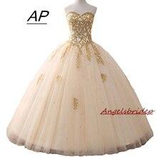 Angelsbridep ゴールドアップリケ夜会服 quinceanera のドレス 2020 スパークルクリスタルチュール床長さ甘い 16 ドレスデビュタントガウン