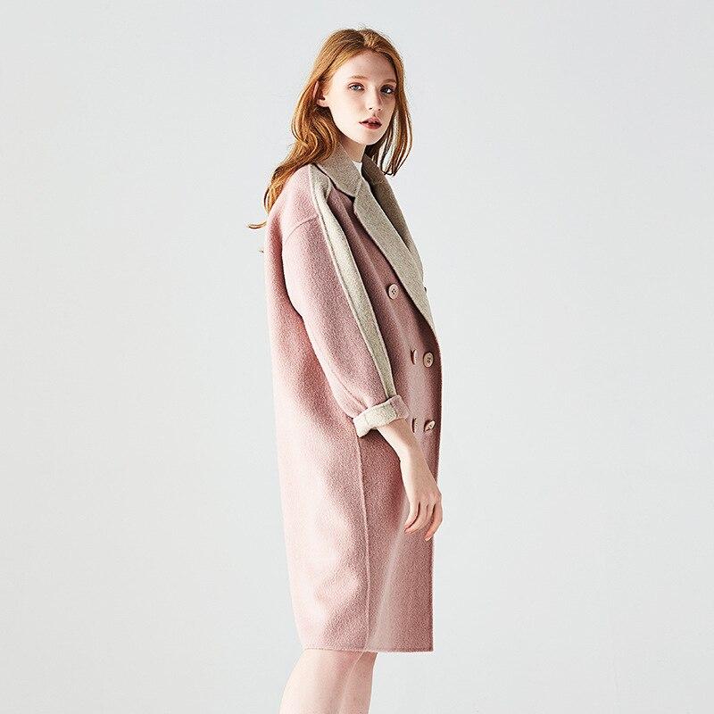 Manteau Longue 2018 Et Couleur D'hiver Double Manteaux Solide De rose Laine Boutonnage Automne Nouveau À Double Color Cachemire Photo Femmes face 8PwOX0kn