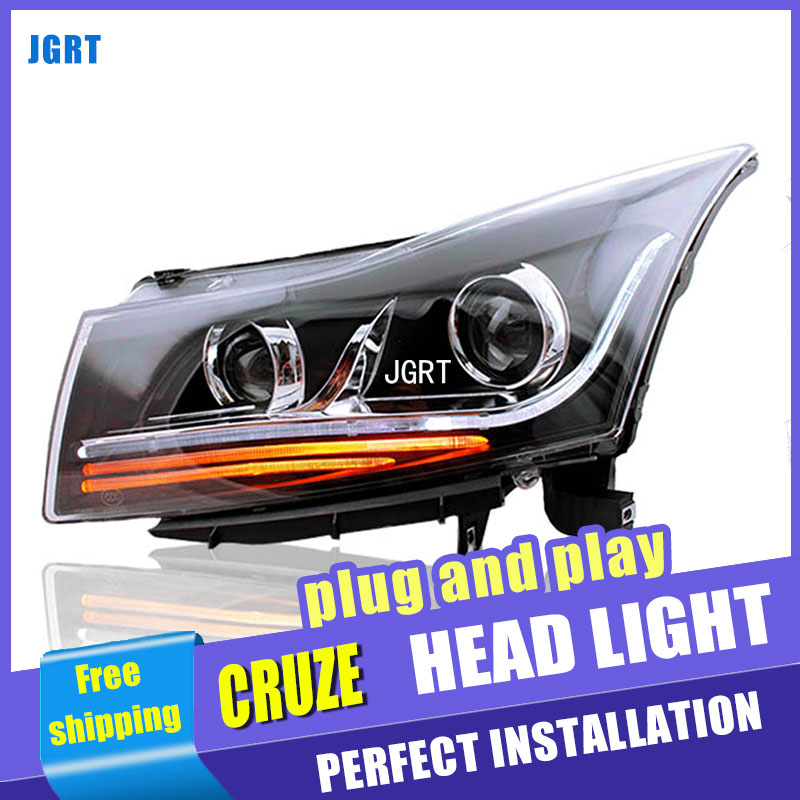 A&T Car Styling for Chevrolet Cruze Headlights Bi Xenon LED Headlight DRL Lens Double Beam H7 HID bi xenon lens