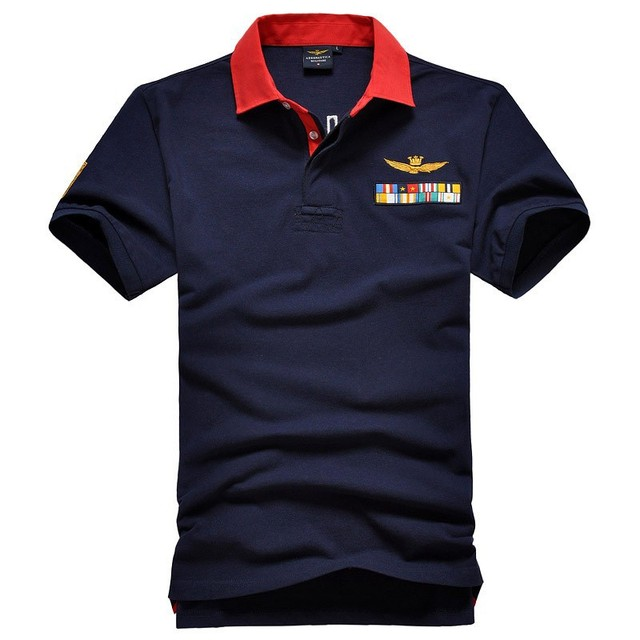2017 Summer new Air Force One embroidered  polo shirt men's Slim lapel polo shirt  men's 100%Cotton polo shirt size M-XXL