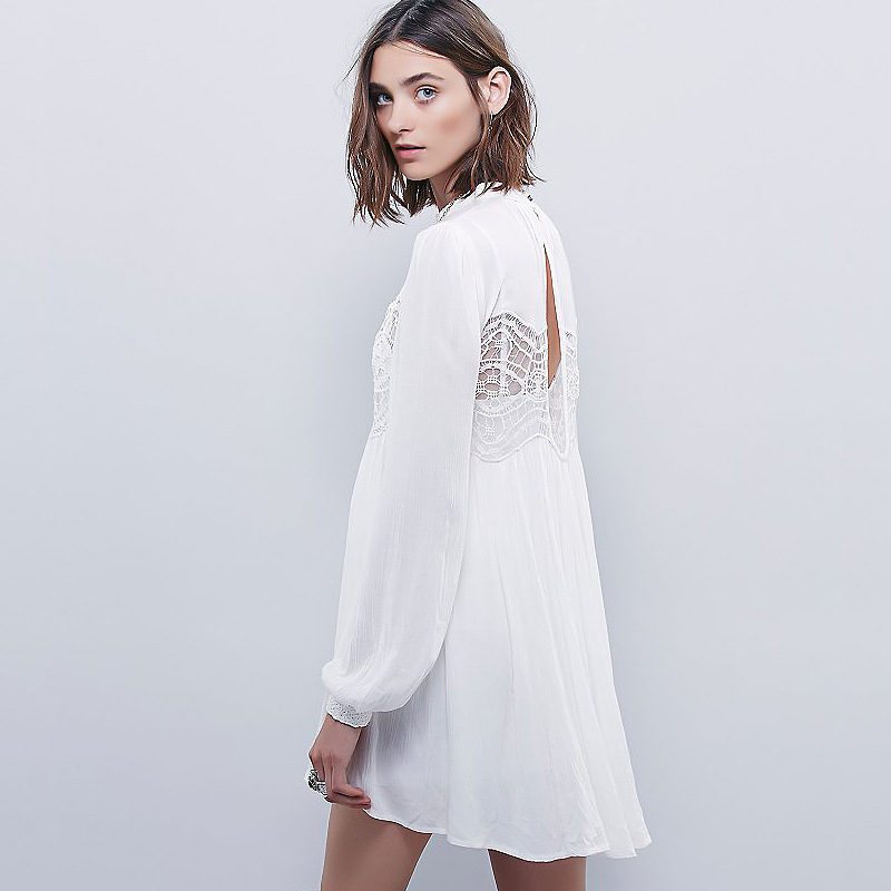 2017 women's spring cotton dress white color boho style beach vacation dresses lace long sleeve fall dress sexy lace short dress