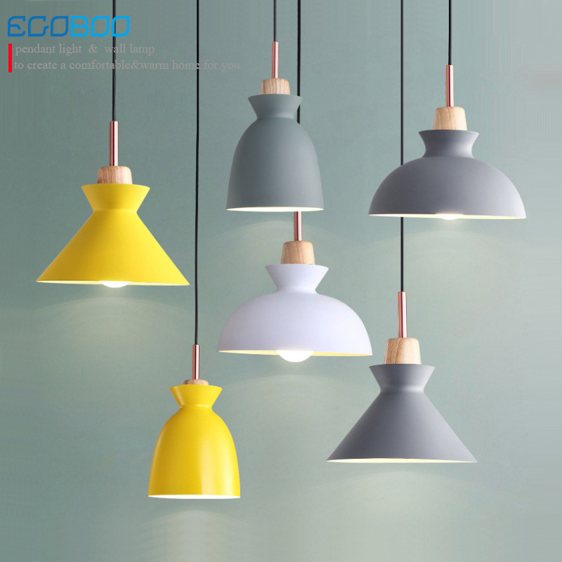 NEW Wood Pendant Lights Lamparas Colorful Aluminum lampshade Luminaire Dining Room Lights Pendant Lamp For Home Lighting E27Lamp