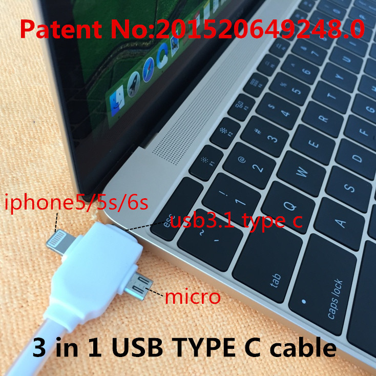 3 in 1 USB 3.1 TYPE-C cable Charging & datas