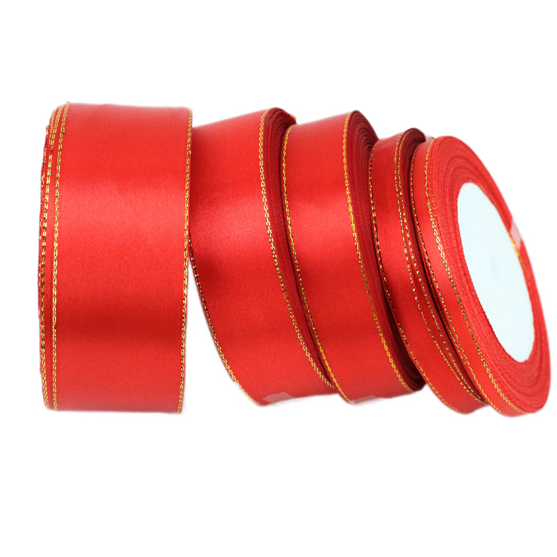 PER 3 metre roll 10mm wide wired ribbon gold centre red gold white