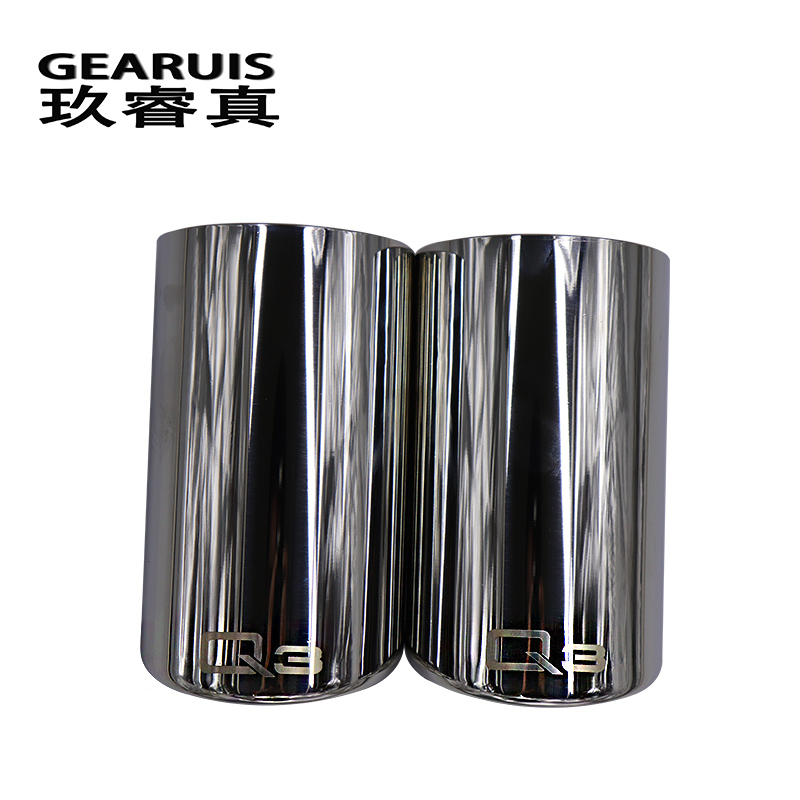 Car styling Tail Throat Exhaust Pipe stainless steel cover For Audi Q3 13-16 Car exhaust pipe cover muffler tip auto accessories high quality 1 to 2 dual pipe stainless steel modified car rear tail throat for bmw 640