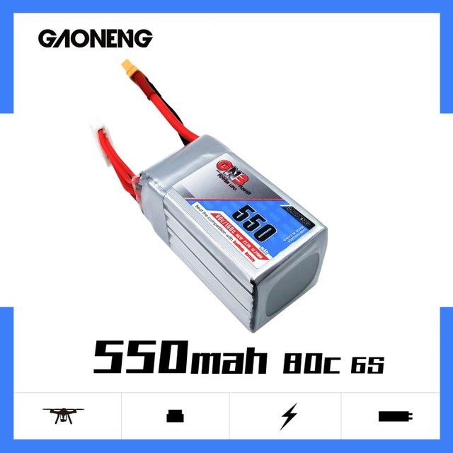 Gaoneng GNB 550mAh 22.2V 6S 80C/160C Lipo battery XT30 or XT60  Plug for FPV Racing Drone RC Quadcopter Helicopter parts