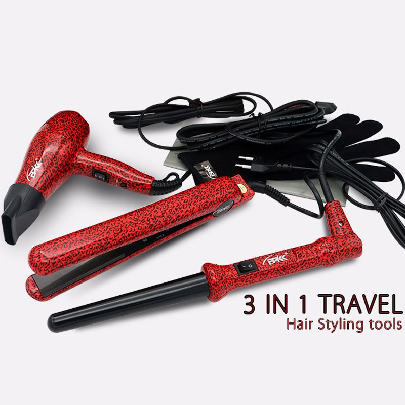 FMK Pro Hair Straightener+Hair Dryer+Hair Curling Iron 3 In 1 Set Flat Irons Wand Curler European Plug Red Leopard With Gift