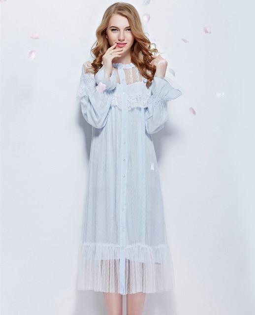 Nightgown Lace Bathrobe Round Neck long-sleeve Sleepwear Queen Sleeping Dress Stargirl's Bedgown Ankle-Length sleep wearing