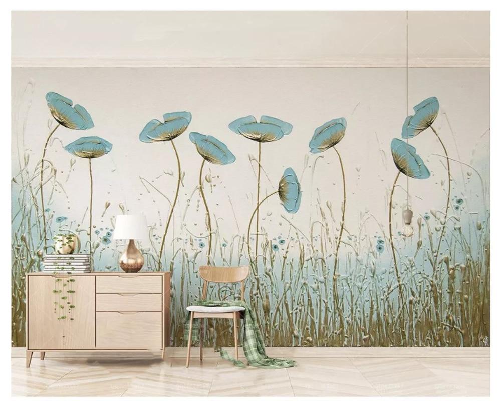 Beibehang clássico papel de parede 3d simples pintura hortelã flores verdes estilo nórdico tv fundo tapety