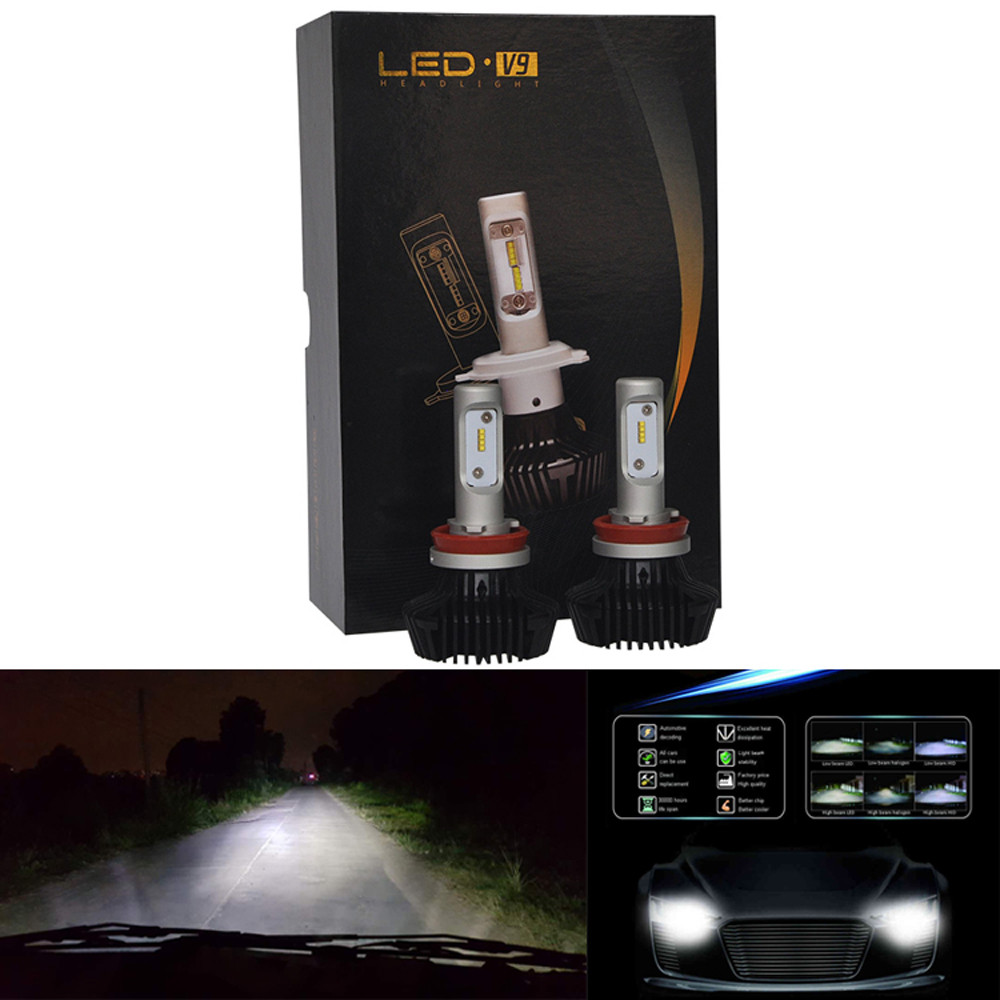 2PCS/Pair Automotive Car LED headlamps For Philips Chips 60W 12000LM H8/H9/H11 Headlight Kit Beam Bulbs 6500K