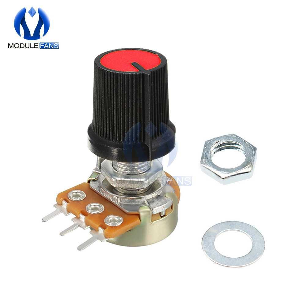 5 шт. красный линейный переход поворотный потенциометр резистор колпачок ручка для Arduino 1K 2K 5K 10K 20K 50K 100K 250K 500K 1M Ohm