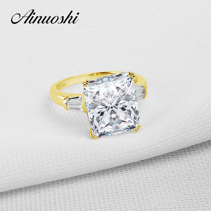 AINUOSHI 10K Solid Yellow Gold TC Collection Wedding Ring Top Quality Anelli Donna 5 ct Simulated Diamond Women Engagement Rings ainuoshi 10k solid yellow gold wedding ring 1 25 ct solitaire simulated diamond anelli donna brilliant proposal rings for women