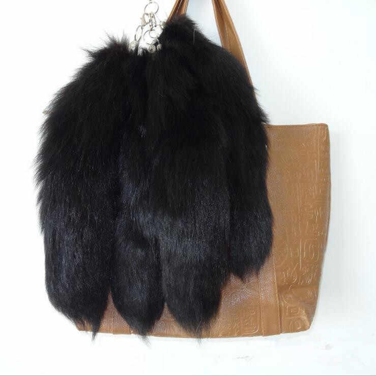 Fofo Preto cor Natural Verdadeira Pele De Raposa Cauda chaveiro Pingente anel chave bonito homens mulheres Bonito saco De Cauda de Raposa encanto A79