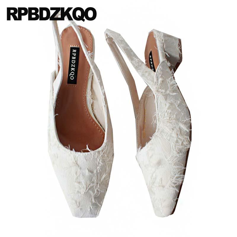 Square Strap Low Heel Women Shoes 2018 Spring Beige Wedding Pumps Thick Sandals Slingback Fur Purple Canvas Block Closed Toe pu closed toe color block slingback shoes