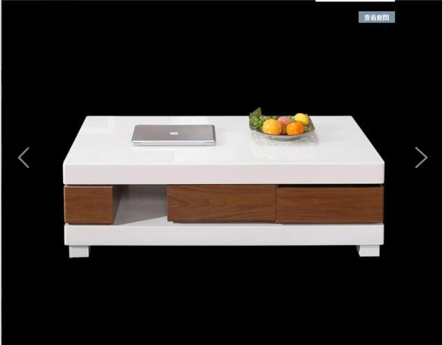 Salon meubles de maison table basse minimaliste style moderne en bois mesas rectangle table basse de salon blanc sehpalar tablo - 6