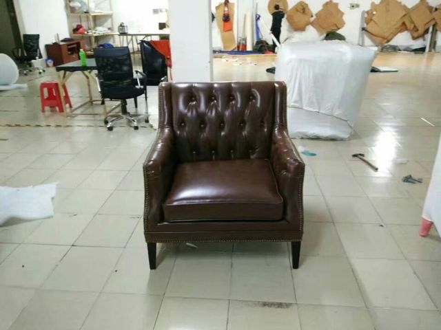 cow real genuine leather sofa living room chair home furniture modern American Country style leisure chair shipping to port