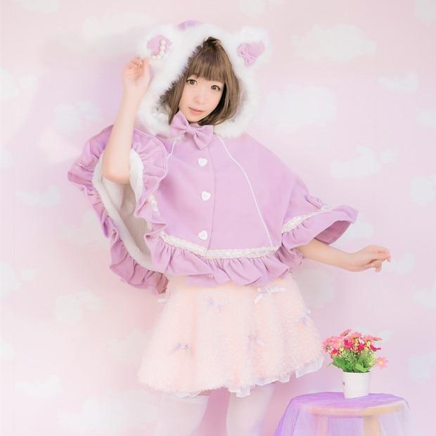 Princess sweet lolita bobon21 sweet bear's ear bobbi pink imitation woollen cloth Bat sleeve Cape with fur collar and bow TS02